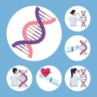 seis ícones de teste genético vetor