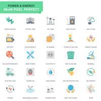 Conjunto simples indústria de energia e energia plana ícones para site e aplicativos móveis
