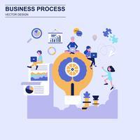 Estilo azul do conceito de projeto liso do processo de negócios com caráter pequeno decorado dos povos. vetor