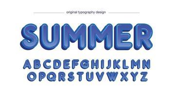 tipografia de desenho animado azul com bordas arredondadas vetor
