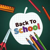 de volta às aulas rotulando maçã de papel com suprimentos vetor