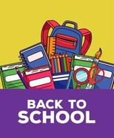 volta às aulas letras com a mochila e o conjunto de materiais vetor