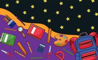 de volta às aulas com suprimentos e padrão de estrelas vetor