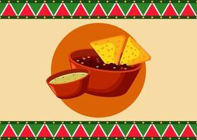 pôster de restaurante de comida mexicana com nachos e molhos vetor
