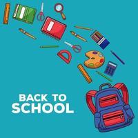 volta às aulas letras com mochila e materiais vetor