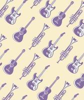 guitarra elétrica e acústica com padrão de trombetas vetor