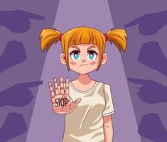 jovem adolescente com a palavra de parada na mão e as mãos atacando vetor
