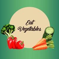 comer vegetais rotulação pôster com vegetais em moldura circular vetor