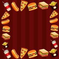 delicioso modelo de menu de fast food moldura quadrada em fundo vermelho vetor