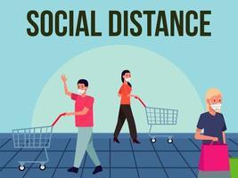 distanciamento social para campanha de prevenção covid19 com pessoas usando máscaras mediais no supermercado vetor