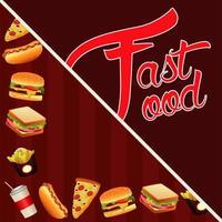 modelo de menu de fast food em fundo vermelho vetor