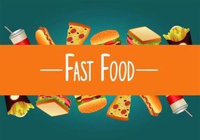 modelo de menu de fast food delicioso com letras em fundo verde vetor