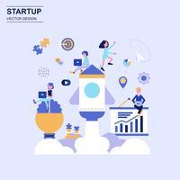 Estilo azul do conceito de projeto liso Startup com caráter pequeno decorado dos povos.