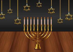feliz celebração hanukkah com lustre e estrelas penduradas na mesa de madeira vetor