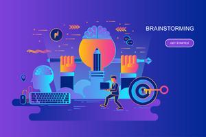 Linha plana gradiente moderno web conceito bandeira de brainstorming com caráter de pessoas pequenas decorados. Modelo de página de destino. vetor