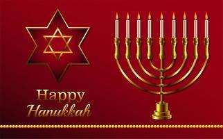 letras de celebração feliz hanukkah com estrela dourada e lustre vetor