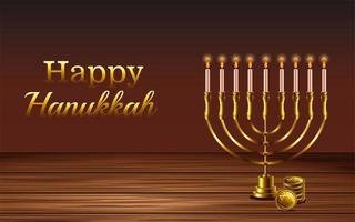 letras de celebração feliz hanukkah com lustre na mesa de madeira vetor