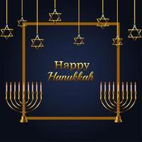 letras de celebração feliz hanukkah com lustre dourado e estrelas penduradas vetor