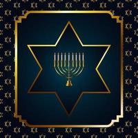feliz celebração hanukkah com lustre dourado e estrelas em moldura quadrada vetor
