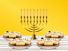 feliz celebração de hanukkah com lustre dourado e rosquinhas doces vetor