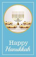 letras de celebração feliz hanukkah com lustre dourado e rosquinhas doces vetor