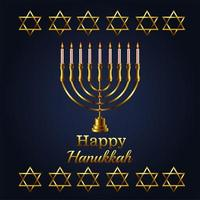 letras de celebração feliz hanukkah com lustre dourado e estrelas vetor