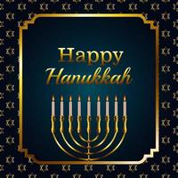 letras de celebração feliz hanukkah com lustre dourado em moldura quadrada vetor