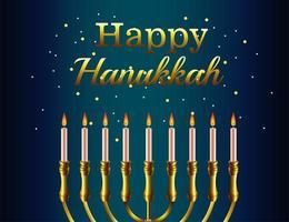 letras de celebração feliz hanukkah com lustre dourado vetor