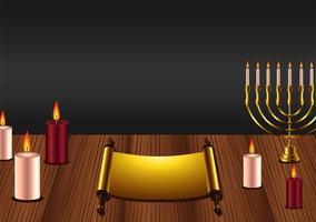 feliz festa de hanukkah com lustre e velas na mesa de madeira vetor