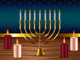 feliz celebração de hanukkah com lustre dourado e velas vetor