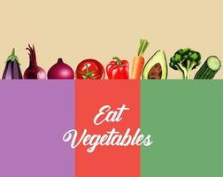 comer vegetais rotulação pôster com comida saudável no quadro de cores vetor