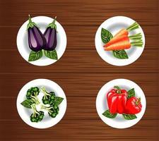 comida vegetariana com legumes em um prato sobre fundo de madeira vetor