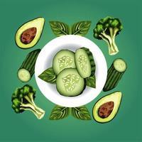 comida vegetariana saudável com vegetais no prato vetor
