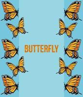 cartaz de letras de borboletas amarelas em fundo azul vetor