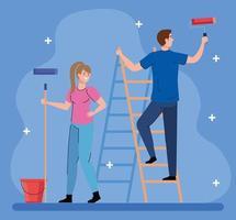 desenhos animados de mulher e homem pintando com balde de rolo e desenho vetorial de escada vetor
