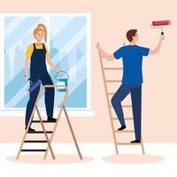desenhos animados de mulher e homem pintando com balde de rolo e desenho vetorial de escadas vetor