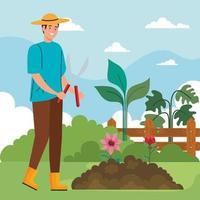 jardineiro homem com alicate e desenho vetorial de flores vetor