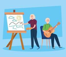 casal de idosos fazendo atividades e hobbies diferentes vetor