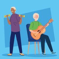 homens idosos fazendo atividades e hobbies diferentes vetor