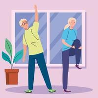 casal sênior praticando exercícios em casa vetor