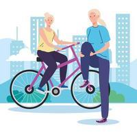 mulheres idosas fazendo atividades e hobbies diferentes vetor