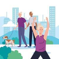 idosos fazendo diferentes atividades e hobbies ao ar livre vetor
