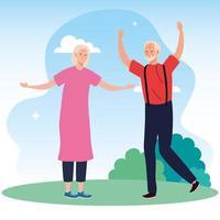 casal velho fofo comemorando no parque vetor