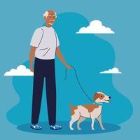 velho andando com cachorro no fundo azul vetor
