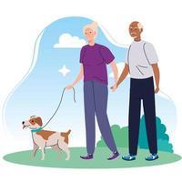 casal de idosos passeando com cachorro de estimação no parque vetor
