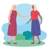 mulheres idosas caminhando no parque vetor