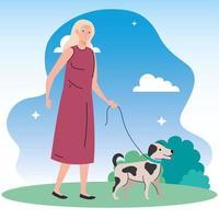 velha passeando com cachorro no parque vetor