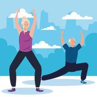 casal sênior praticando exercícios e esportes ao ar livre vetor