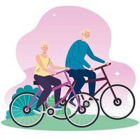 casal sênior em bicicleta no parque vetor