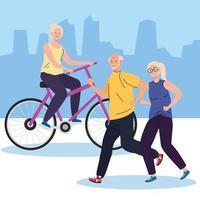 idosos fazendo diferentes atividades e passatempos ao ar livre vetor